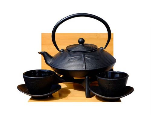 Cast Iron Black Dragonfly Tea set D2 - Tetsubin teapot kettle, trivet & cups X2